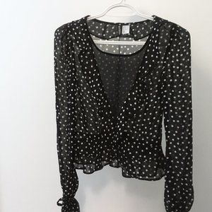 H&M Sheer Black Polka Dot Blouse